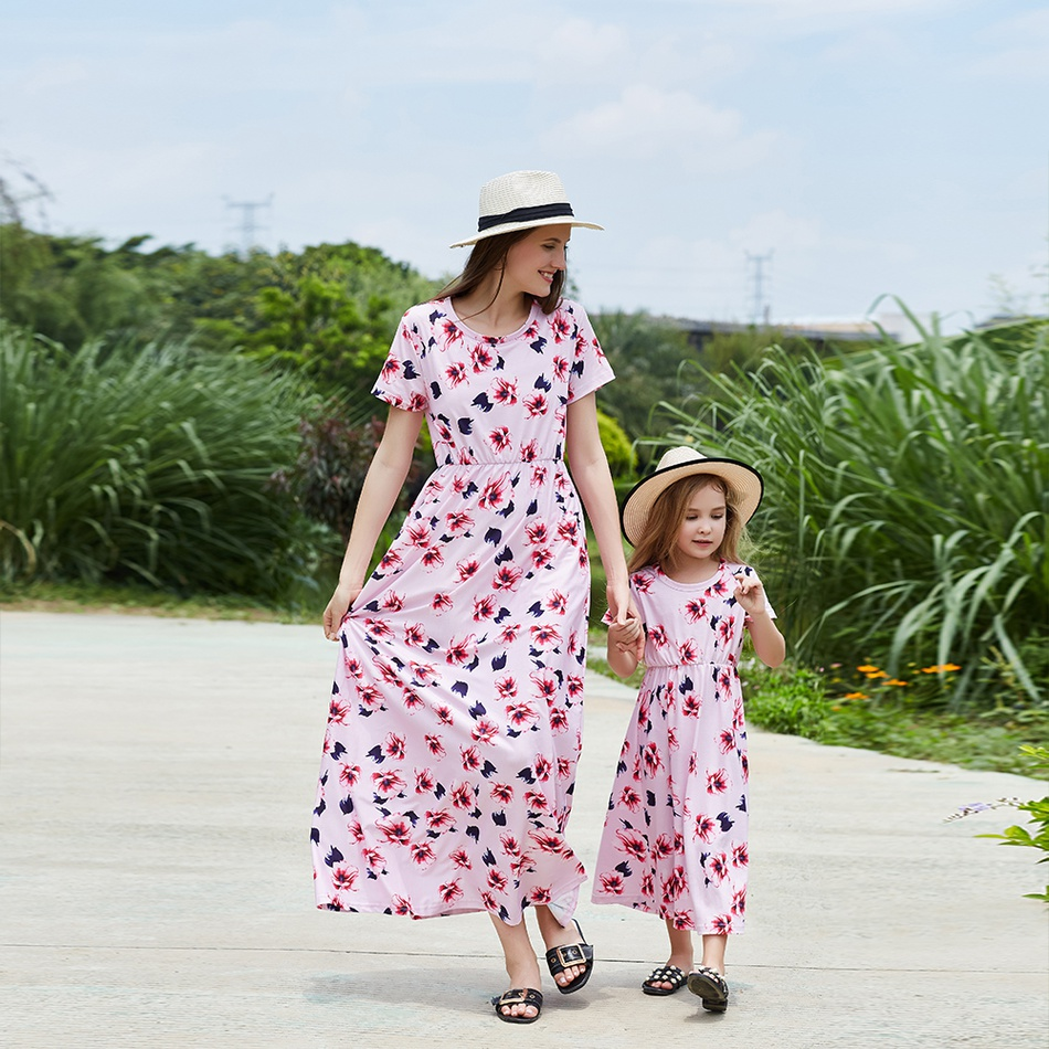 8e36461a5 2019 New Floral Flower Mommy And Me maxi Dress Mom And Daughter at ...