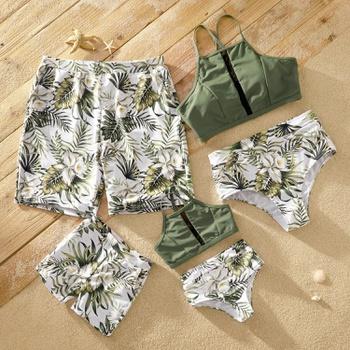 Tankini Palm Leaf Light Green Matching Swimsuits