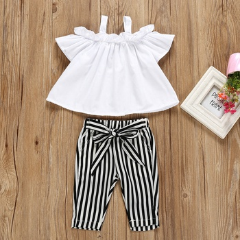 fdc047803542 Open Shoulder Top and Striped Pants Set