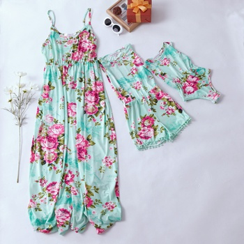 f3a124397fc 2019 New Mommy and Me Floral Pattern Sling Dresses Rompers