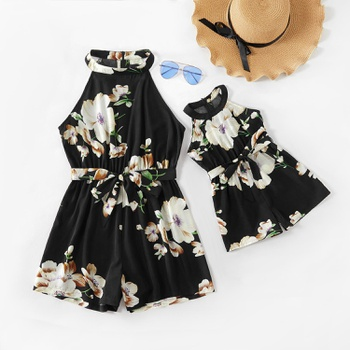Mom and Me Flower Print Hanging Neck Rompers