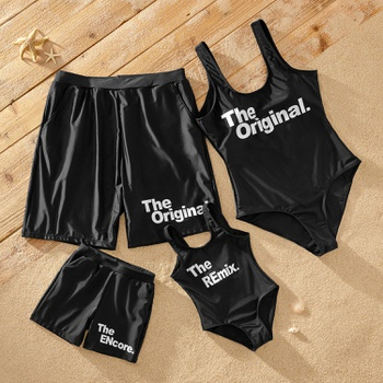Classic Letter Print Matching Swimsuits
