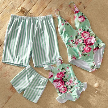 Mosaic Family Matching Flower Ruffle-sleeve Backless Swimsuits