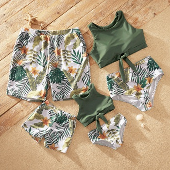Tankini Floral and Leaf Print Matching Swimsuits