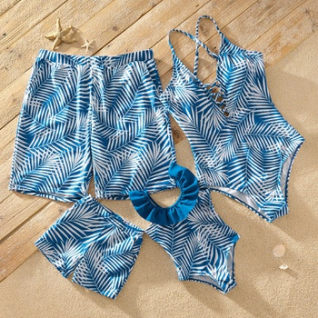 White Palm Leaves Print Blue Matching Swimsuits