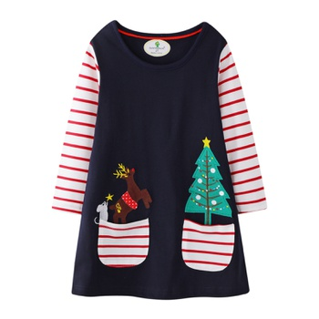 Christmas Trendy Elk Print Striped Long-sleeve Dress