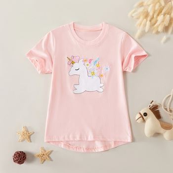 Adorable Cartoon Unicorn Print Short-sleeve Tee