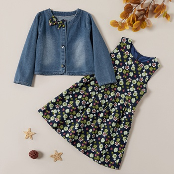 Sweet Flower Allover Dress and Denim Coat Set