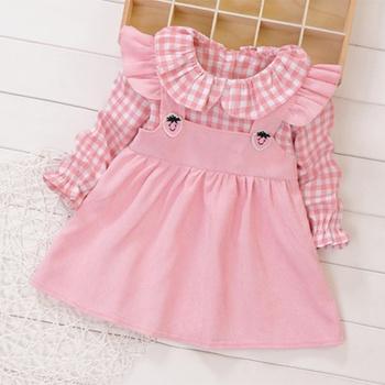 Baby Adorable Doll Collar Plaid Dresses