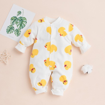 Baby Duck Allover Long-sleeve Jumpsuit