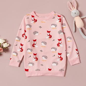 Autumn Girl's Print Fox and Hedgehog Round-collar Long-sleeve Pullover