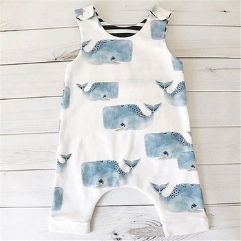 e3f88ae52d40 Lovely Whale Sleeveless Overalls Jumpsuit for Baby
