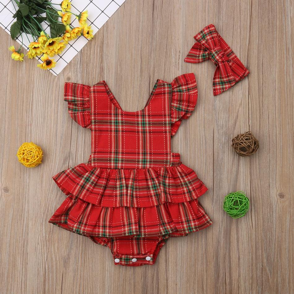 dc4de2e1d2c Pretty Plaid Ruffled Back Crisscross Flutter-sleeve Bodysuit Dress and  Headband