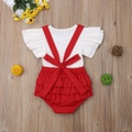 Pretty Bow Knot Decor Ruffled Flutter-sleeve Top and Overalls Set for Baby