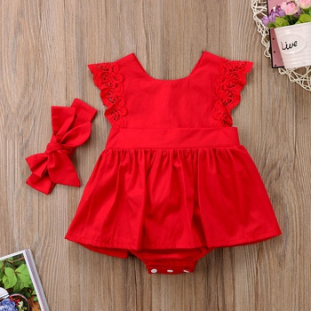Baby Girl's Lace Dress Bodysuit and Bow Headband