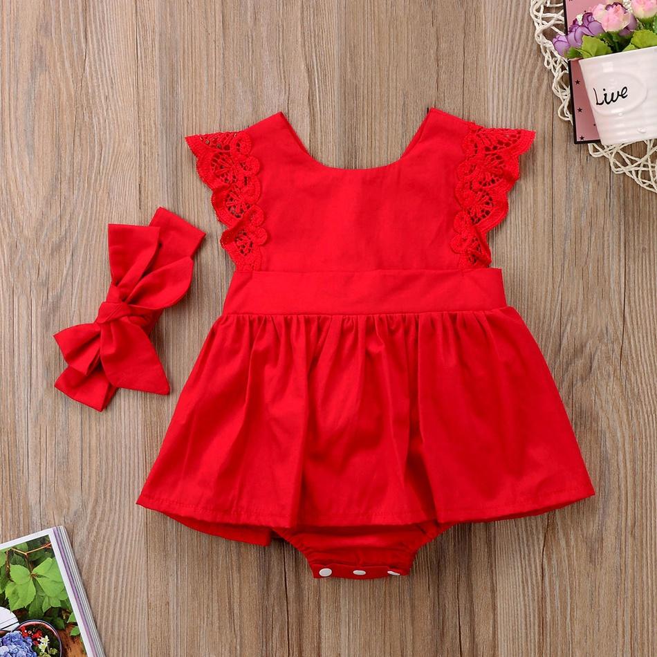 694a291f1207 Baby body de encaje vestido de bebé niña y arco de la venda at ...