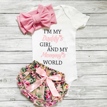 2e956a61c Baby Girl's Letter Print Bodysuit, Floral Allover Shorts and Bow Headband