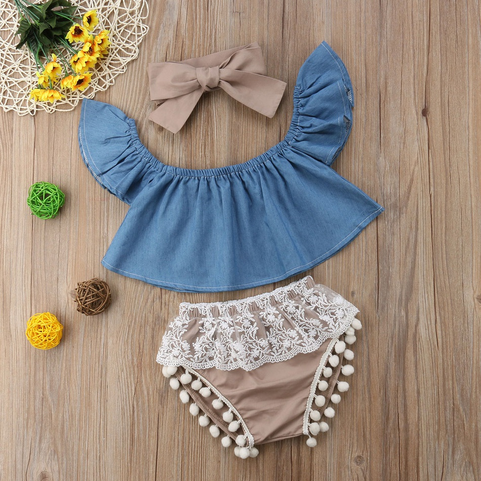 bebecdac3 3-piece Baby Girl Denim Flutter-Sleeve Top and Lace Pompon Decor Shorts  with Headband Set