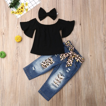3-piece Baby Solid Flutter-sleeve Off Shoulder Top and Leopard Print Bowknot Nine-minute Jeans Set