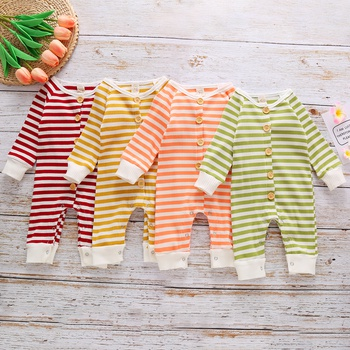 Baby Striped Button Jumpsuit