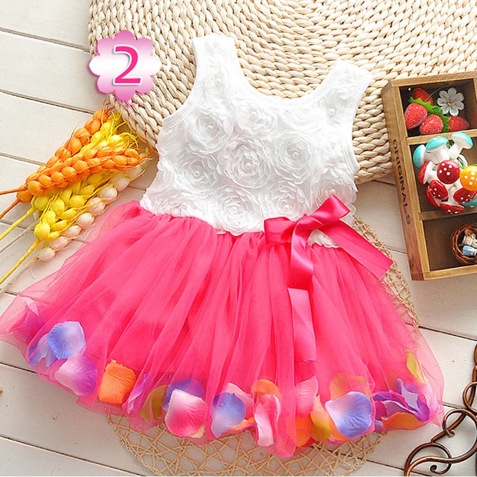 d9ed0587450c Baby Pretty Pearl Petal Decor Bow Knot Tulle Sleeveless Dress for ...