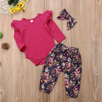 f175aeb44b8 Trendy 3-piece Ruffled Long-sleeve Bodysuit Floral Pants Headband Set for Baby  Girls