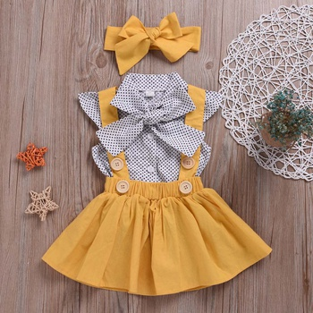 Bright 3-piece Polka dots Shirt Overalls Skirt and Headband Set for Baby and Toddler Girls