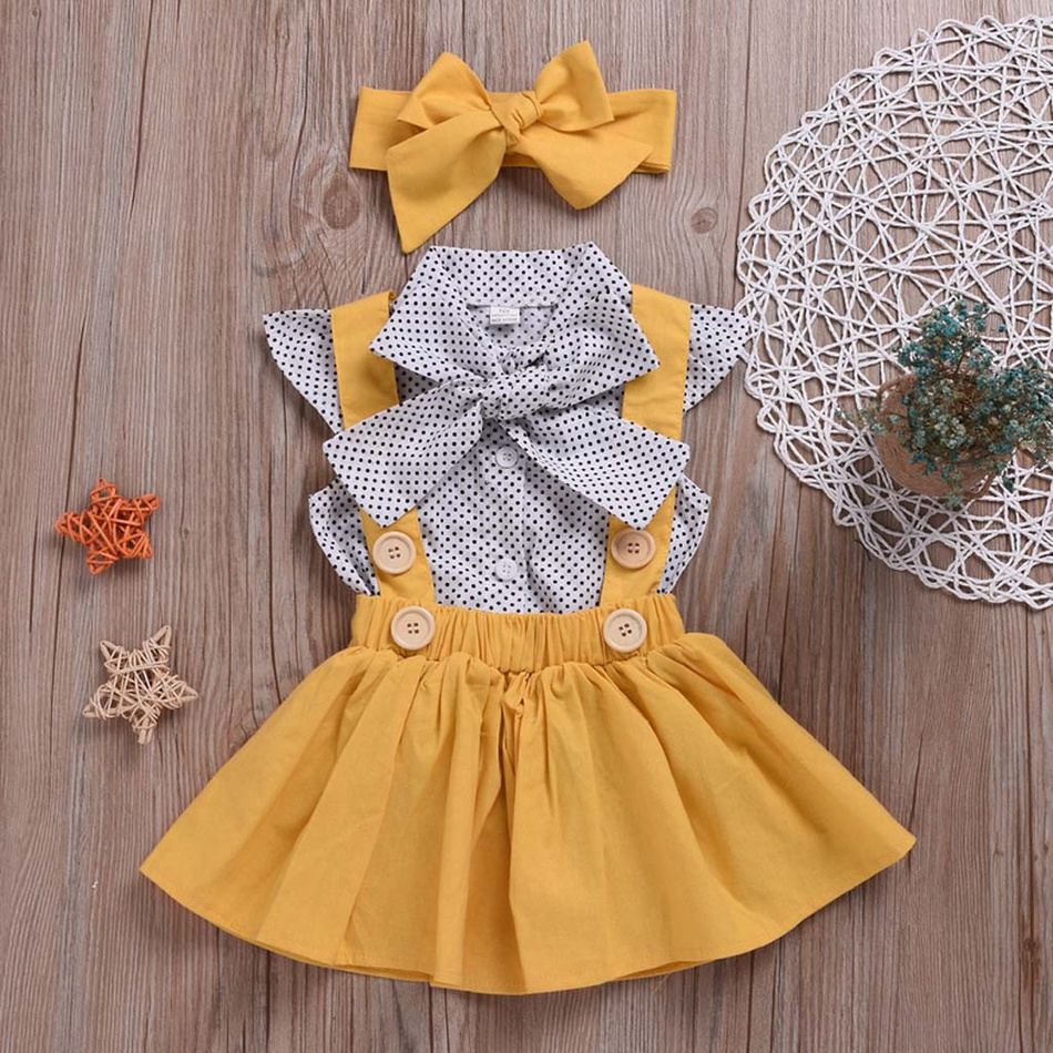 d3e3f3c80 Baby Bright 3-piece Polka dots Shirt Overalls Skirt and Headband Set ...