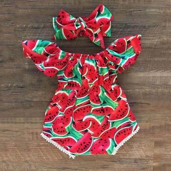 Baby Girls Watermelon Print Bodysuit and Headband