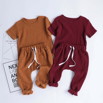 Baby / Toddler Solid Short-sleeve Linen Top and Pants Sets