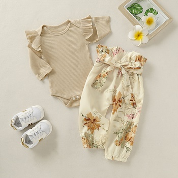2-piece Solid Flounced Bodysuit and Allover Pants Set