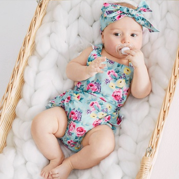Baby Floral Print Bodysuit with Headband Set