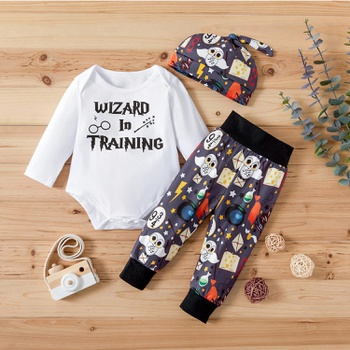 3-piece Magical Style Letter Print Bodysuit and Pants Set
