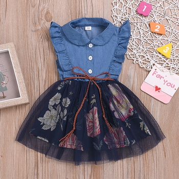 9ed74160443 Toddler Girl Ruffle Side Denim Tulle Dress