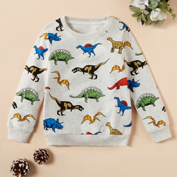 Fashionable Colorful Cartoon Animal Dino Long-sleeve Sweatershirt