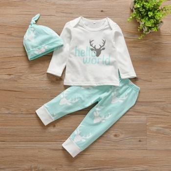 Baby's 3-piece HELLO WORLD Deer Tee, Pants and Hat