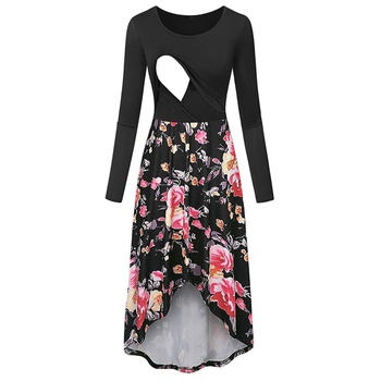 Stylish Floral Print Long-sleeve Nursing Dress