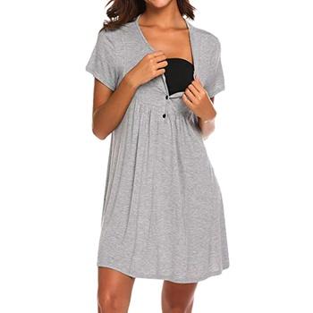 Casual Solid Short-sleeve Nursing Dress