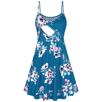 Stylish Floral Print Nursing Slip Dress