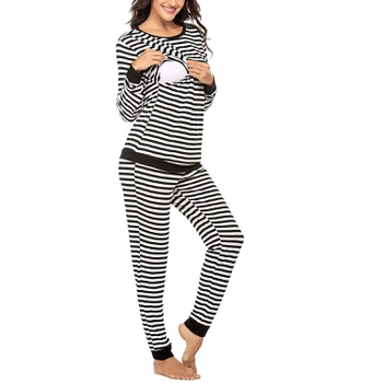 Cozy Striped Long-sleeve Nursing Pajamas Set( Random printing position)