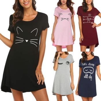 Casual Short-sleeve Kitty Printed Sleepwear