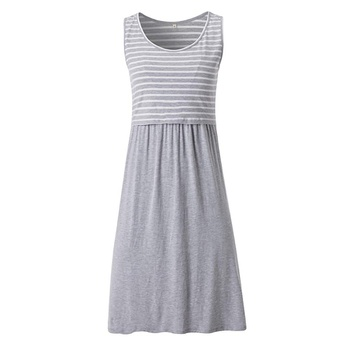 Maternity Round collar Stripes Color block Normal H Sleeveless Nursing Dress