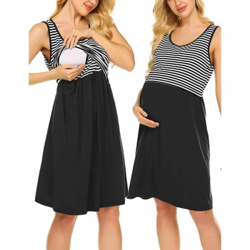 Maternity Round collar Stripes Color block Knee length Parachute skirt Sleeveless Nursing Dress