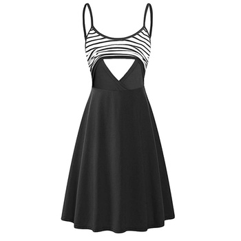 Maternity Cami Stripes Color block Knee length Parachute skirt Sleeveless Nursing Dress