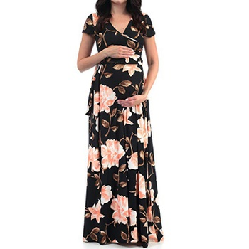 Stylish Floral Print Short-sleeve Maternity Maxi Dress