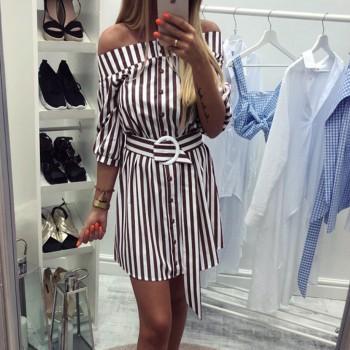 Stylish Striped / Solid Belted Off-shoulder 3/4 Sleeve Dress