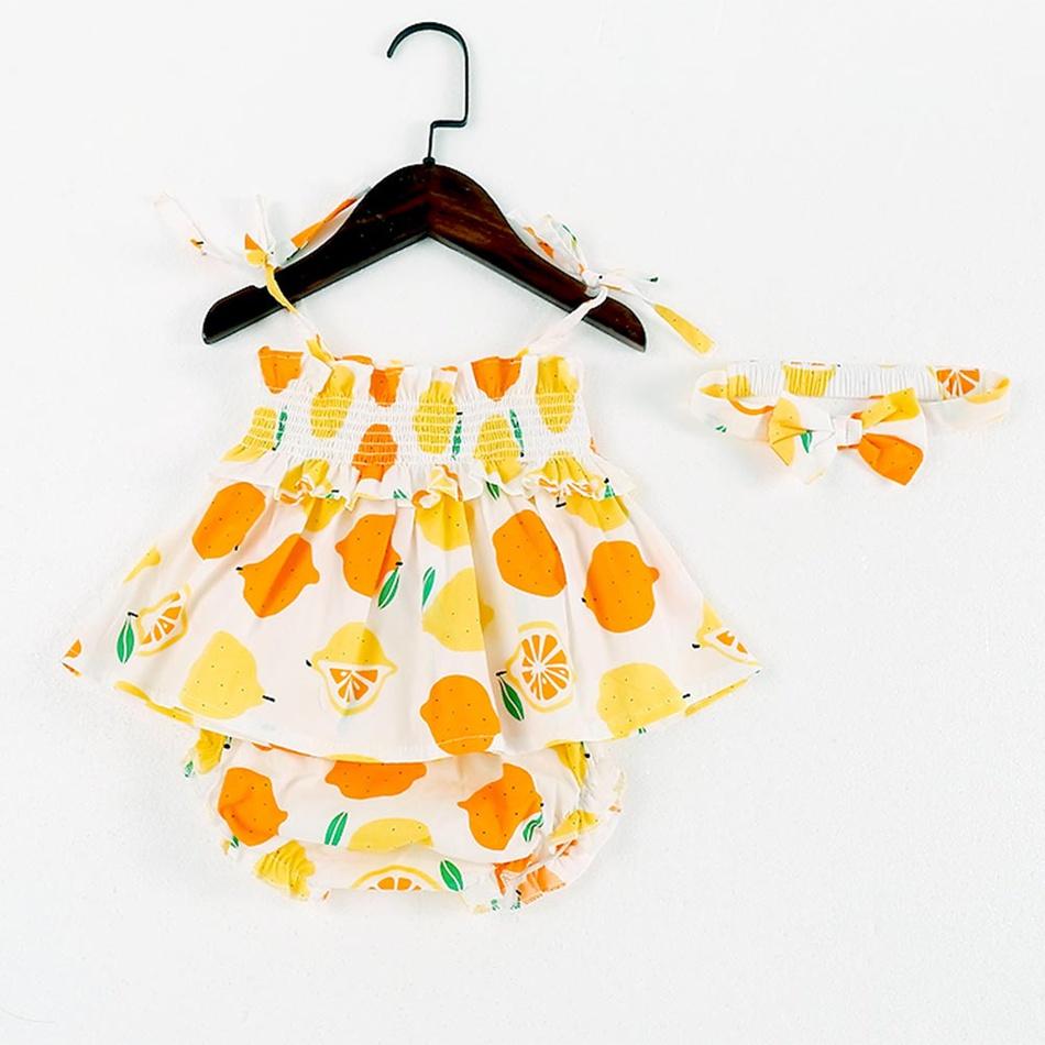 888ea9a2b8 2019 Summer New 3-Piece Lemon Pattern Tank Dresses Bottom Sets with Headband