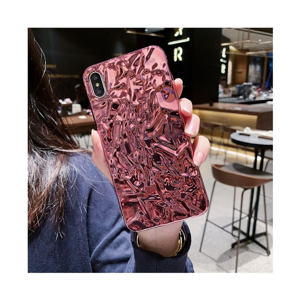 Stylish Metallic Rock Style Phone Case for iPhone in Rosy