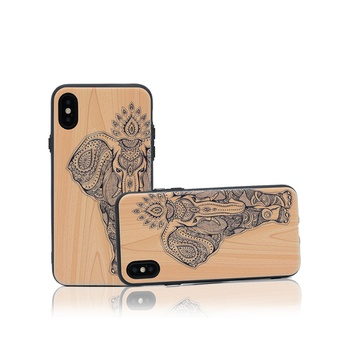 Stylish Elephant Pattern Wooden Phone Case for iPhone