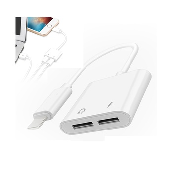 Practical Dual Ports Audio Charging Adapter for iPhone